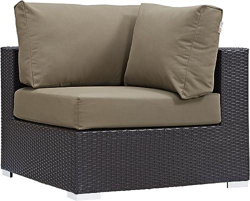 Modway Convene Wicker Rattan Outdoor Patio Sectional Sofa Corner Seat