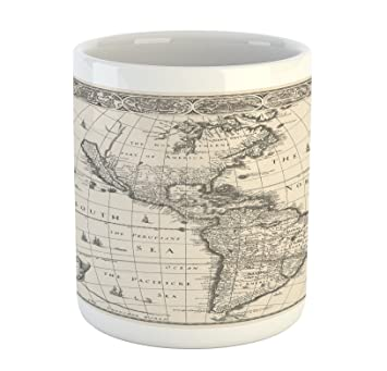 Amazon world map mug by ambesonne antique map america in 1600s world map mug by ambesonne antique map america in 1600s world in medieval time ancient gumiabroncs Gallery