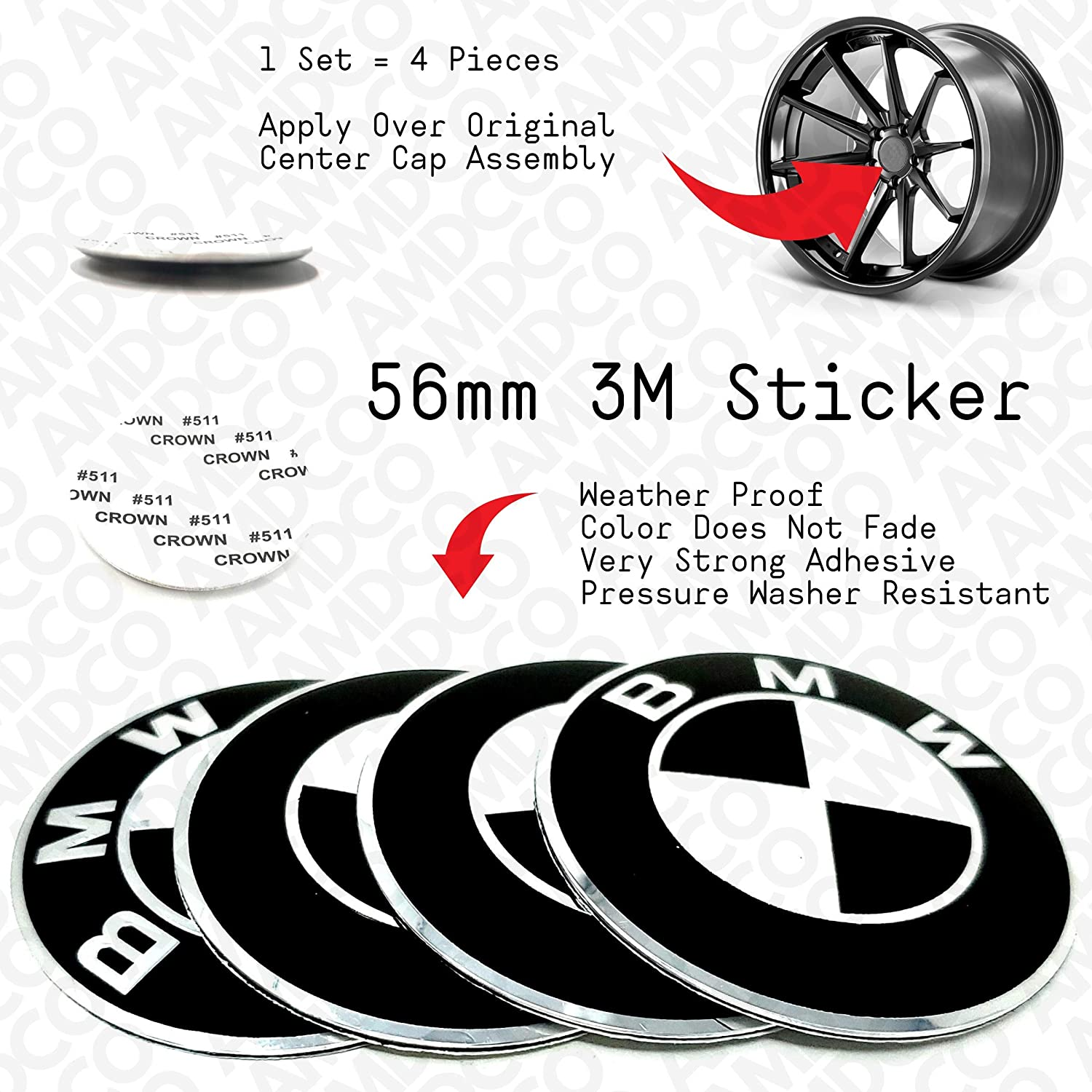 56MM BLACK Emblem Badge Stickers Decals with Strong 3M Includes instructions MEASURE Before Purchase Fitment Top Quality fit For BIMMER 2 3 4 5 6 7 X2 X3 X4 X5 X6 series M etc AMD pack of 4