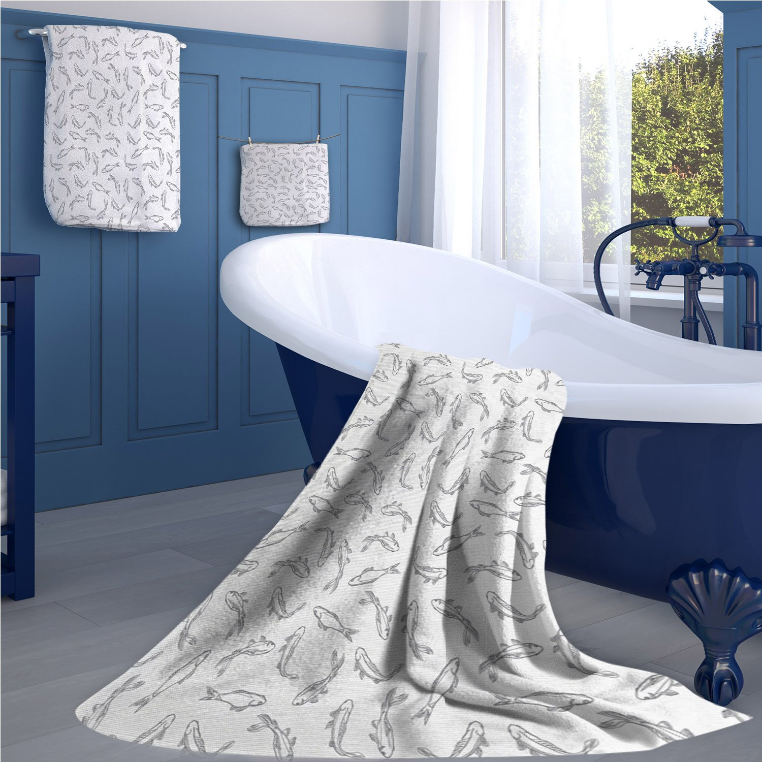 Grey and White Extra wide bathroom accessories Fish Pattern Underwater Animals Abstract Marine Lake Peaceful Illustration luxury hand towels set Grey White