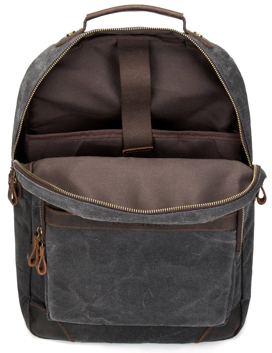 Vintave Waterproof Oil Waxed Canvas Genuine Crazy Horse Leather College Weekend Travel Laptops Backpack Fit to Laptop Up to 15.6 Inch By 1XD GEAR by 1XD GEAR (Image #4)