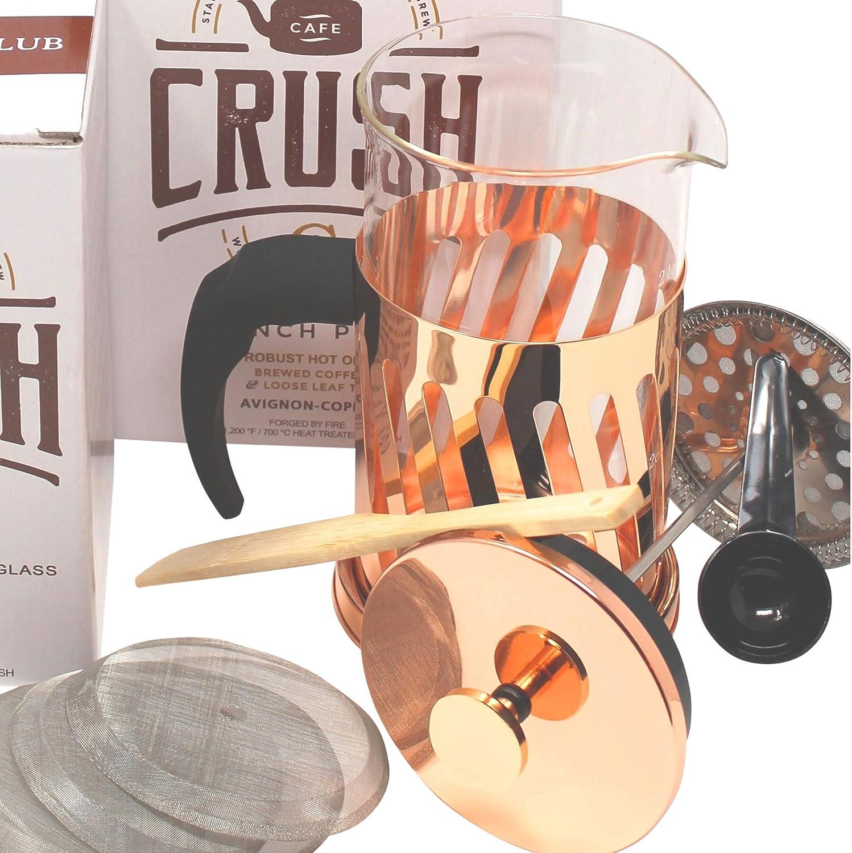 French Press Coffee Maker Thick Borosilicate Glass Bonuses 34 Ounce 1 Liter Copper