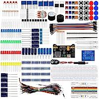 Keywish Electronics Basic Starter Kit w/ BreadboardJumper wiresColor LedResistorsCapacitorBuzzer for Arduino UNO R3…