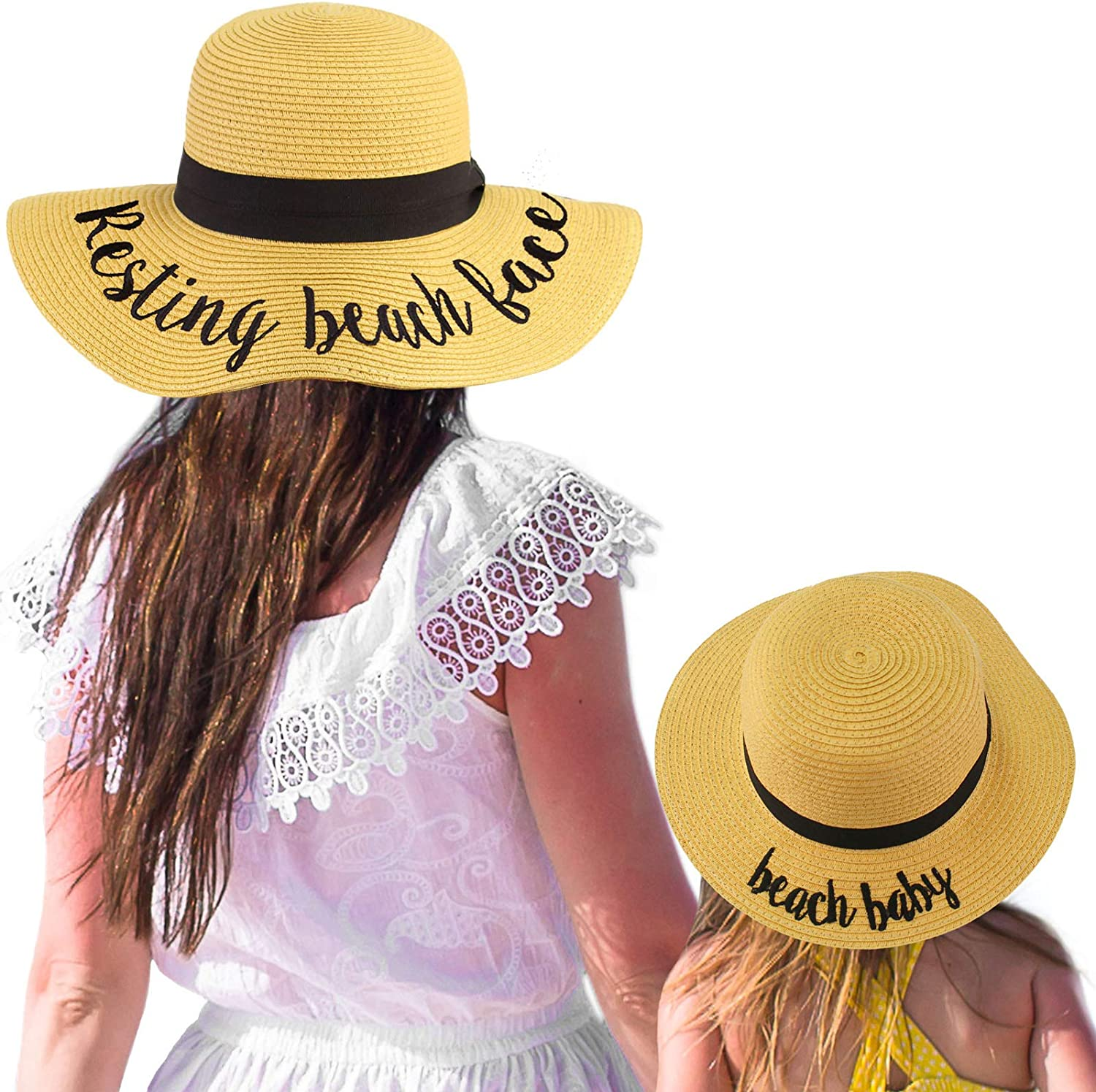 C.C Womens Mommy and Me Girls Sayings Summer Beach Pool Floppy Dress Sun Hat