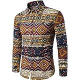 Camisa de Lino Estampada para Hombre, Manga Larga, diseño Floral