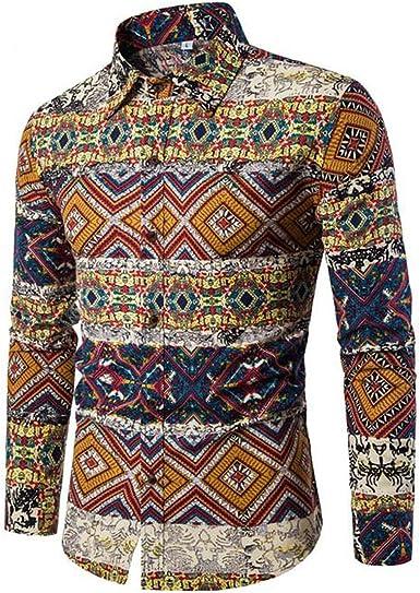 Camisa de Vestir para Hombre Camisa de Lino Estampada Funky de Manga Larga Camisa Casual Elegante Floral Tops Patrón único: Amazon.es: Ropa y accesorios