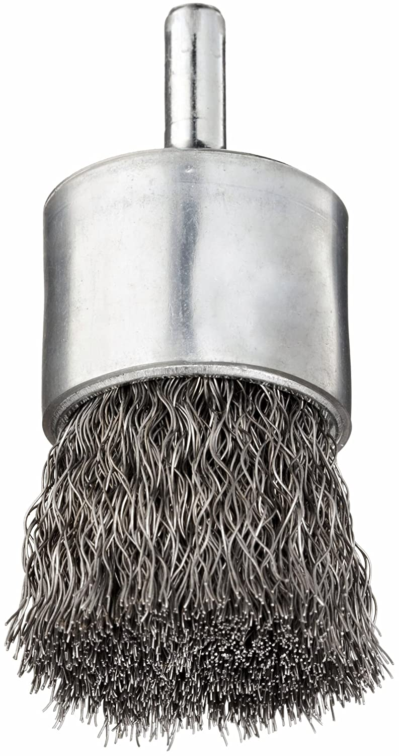 Stainless Steel 302 0.006 Wire Diameter Solid End 3//4 Diameter 1//4 Shank Pack of 1 Weiler Wire End Brush 22000 rpm Crimped Wire Round Shank