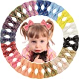 "WillingTee 32pcs 3"" Baby Girls Sparkly Glitter Sequin Bows Hair Bow Clips Barrettes for Girls Teens Kids Babies Toddlers…"