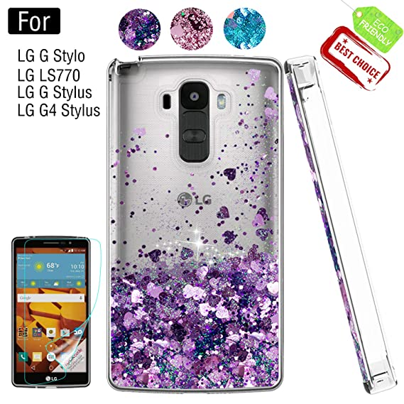 los angeles a5c24 b501c LG G Stylo Phone Case with HD Screen Protector for Girls Women, Luxury  Glitter Diamond Quicksand Clear TPU Protective Phone Case for LG G Stylo,  LG G ...
