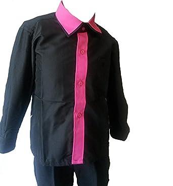 Unbekannt - Camisa - Básico - para niño Negro Negro/Rosa 32 ...