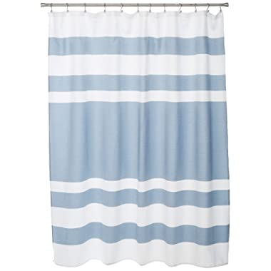 Madison Park Spa Waffle Weave Striped Fabric Shower Curtain, Classic Shower Curtains for Bathroom, 72 X 72, Blue