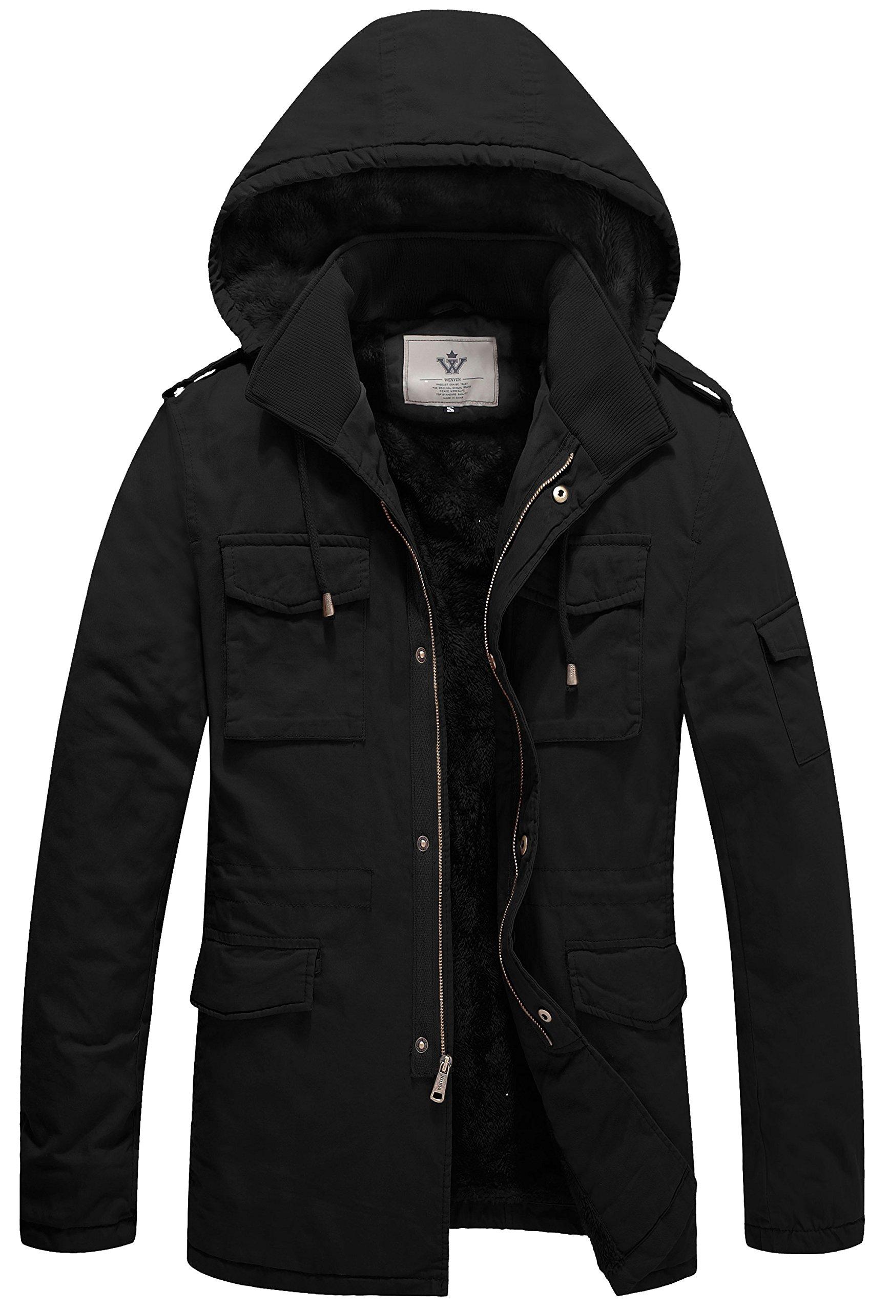 WenVen Men's Duck Sherpa Lined Hooded Jacket(B-Black,L) by WenVen