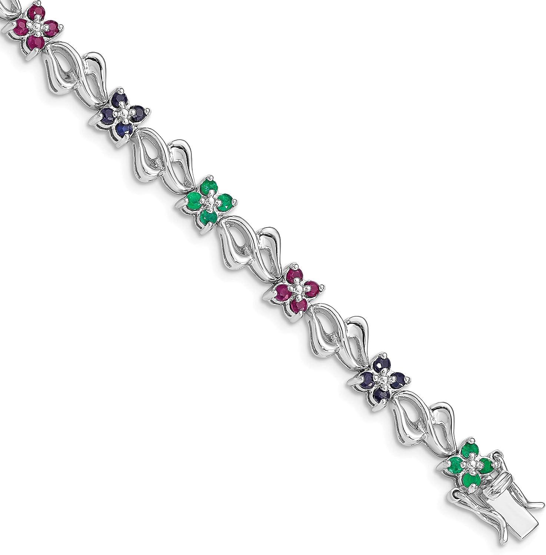 Pulsera de plata de ley 925 chapada en rodio y zafiro, rubí, esmeralda