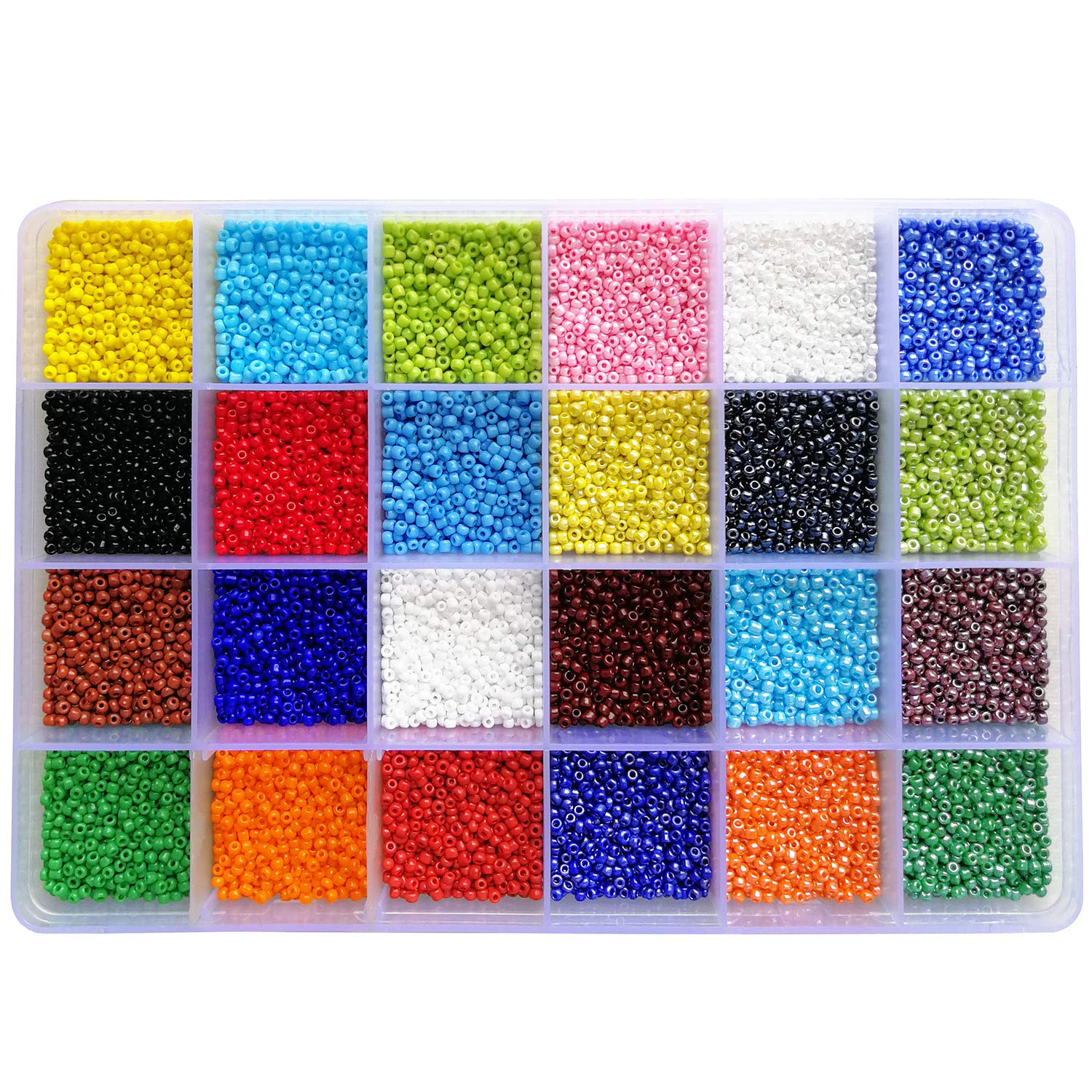 BALABEAD 24000pcs in Box 24 Multicolor Assortment 12/0 Glass Seed Beads Opaque Colors Seed Beads for for Jewelry Making, Size 2mm Beads, Hole 0.6-0.8mm (1000pcs/Color, 24 Colors) by BALABEAD