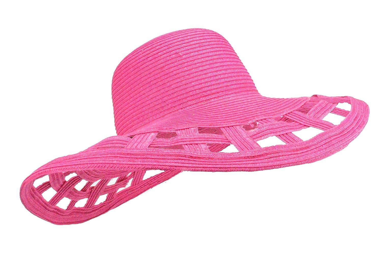 7b9b066f Cute Straw Derby Sun Hat w/Square Cut-Outs, Wide Brim Floppy Beach Cap  (Navy Blue) at Amazon Women's Clothing store: