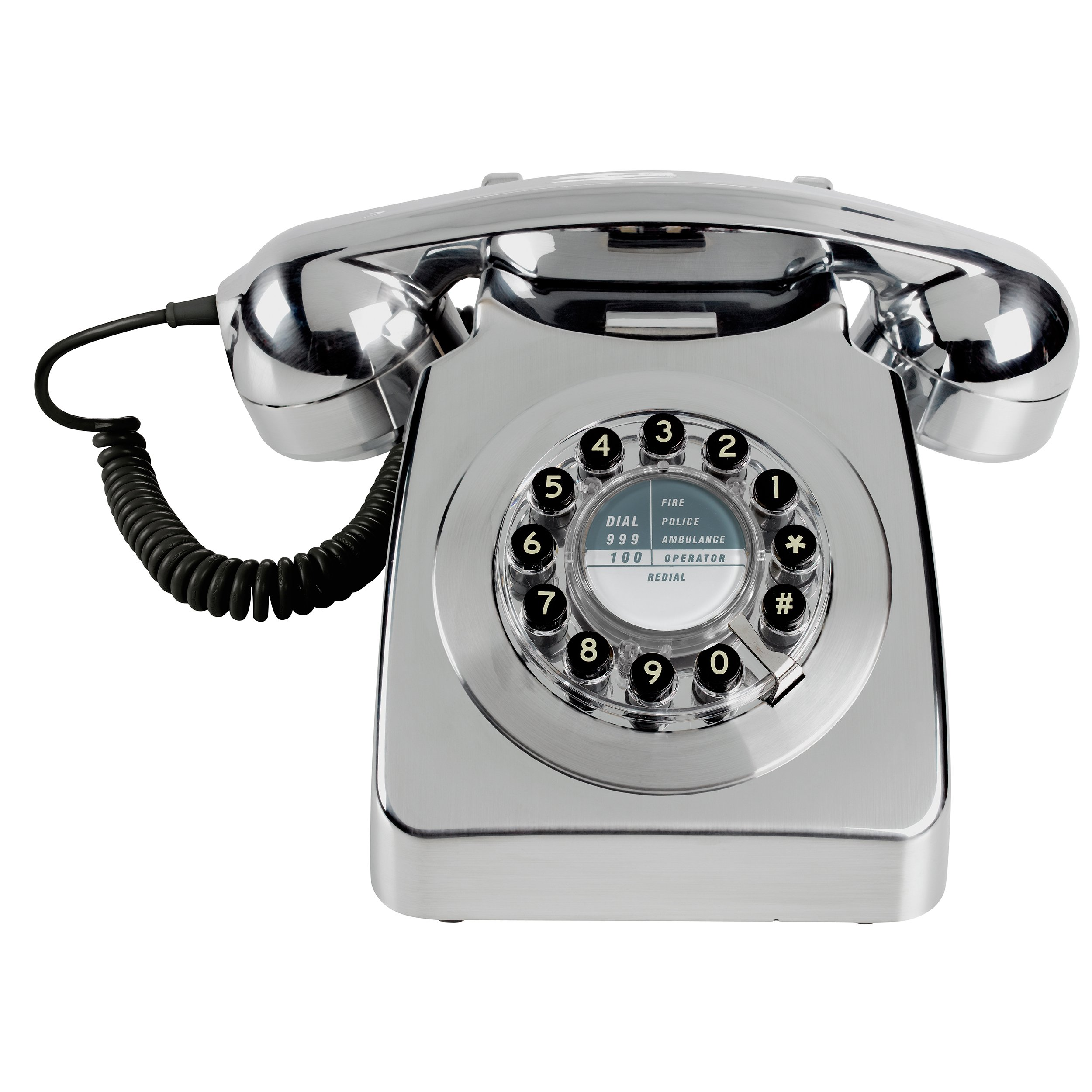 Wild Wood 746 Retro Design Phone, Metallic Chrome