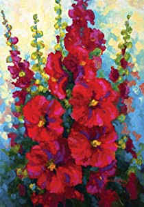 Toland Home Garden Bursting Floral 12.5 x 18 Inch Decorative Spring Summer Red Hollyhock Flower Garden Flag