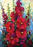 Toland Home Garden Bursting Floral 12.5 x 18 Inch Decorative Spring Summer Red Hollyhock Flower Garden Flag