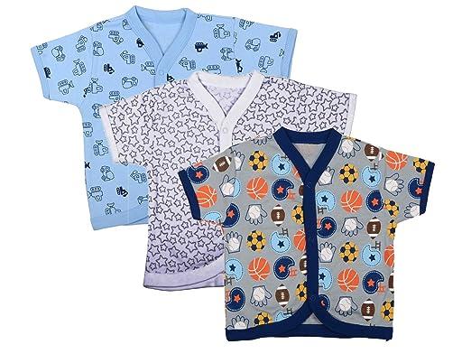 136010a26 Baby Grow Half Sleeve Front Open Vest-Jhabla-Set Of 3 Boys Multi ...