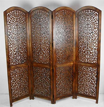 Topfurnishing 4 Panel Heavy Duty Indian Screen Wooden Screen Divider  Kashmeri Jali 177x183cm(Light Brown
