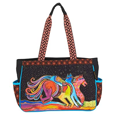f6b87c1a79db Image Unavailable. Image not available for. Color  Laurel Burch Horse  Caballos De Colores Medium Tote Handbag Purse