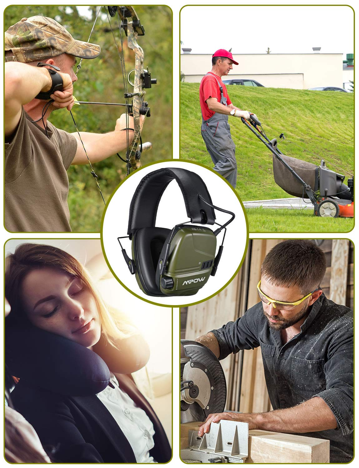 Mpow 094 Electronic Shooting Ear Muffs, Rechargeable SNR 26dB Active Noise Reduction Muffs, Stereo Sound Amplification with Dual Mic, Ear Protection for Shooting Hunting Season, Mowing, Woodworking by Mpow (Image #6)