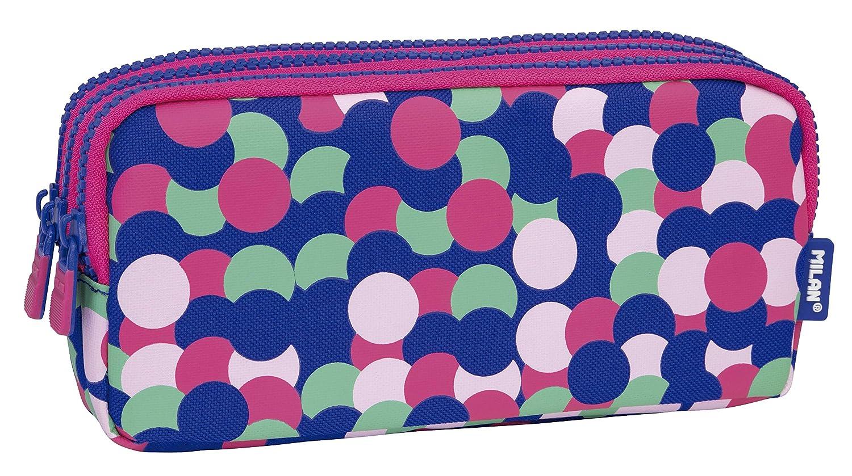 MILAN Portatodo 3 Cremalleras Dotty Estuches, 22 cm, Rosa: Amazon ...
