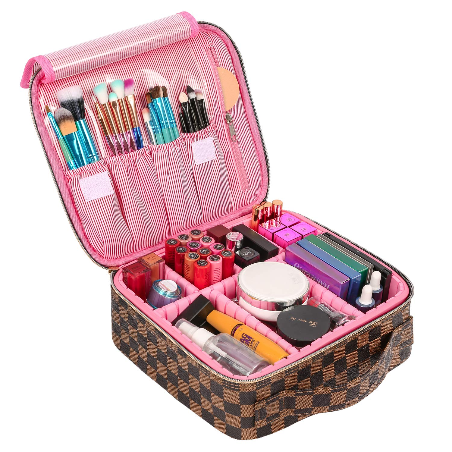 SSSCase Travel Makeup Bag Cute Cosmetic Case Professional Train Case Large Make Up Box Storage Organizer with Brush Slots, Removable Inserts, Hard Shell for Women Girls, Brown & Pink
