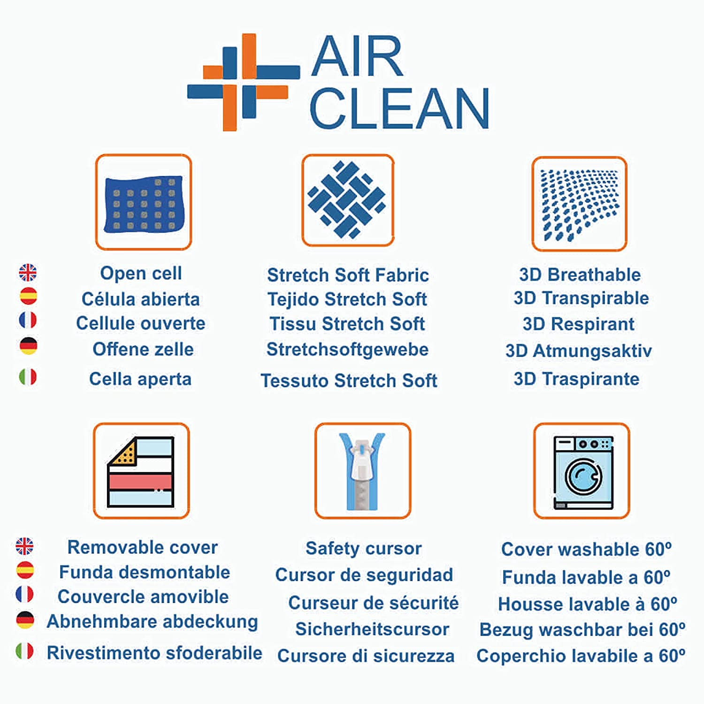 Oxigenaci/ón Total Transpirable Reversible Colch/ón de Cuna Air Clean 117 x 57 cm Funda lavable hasta 60/º
