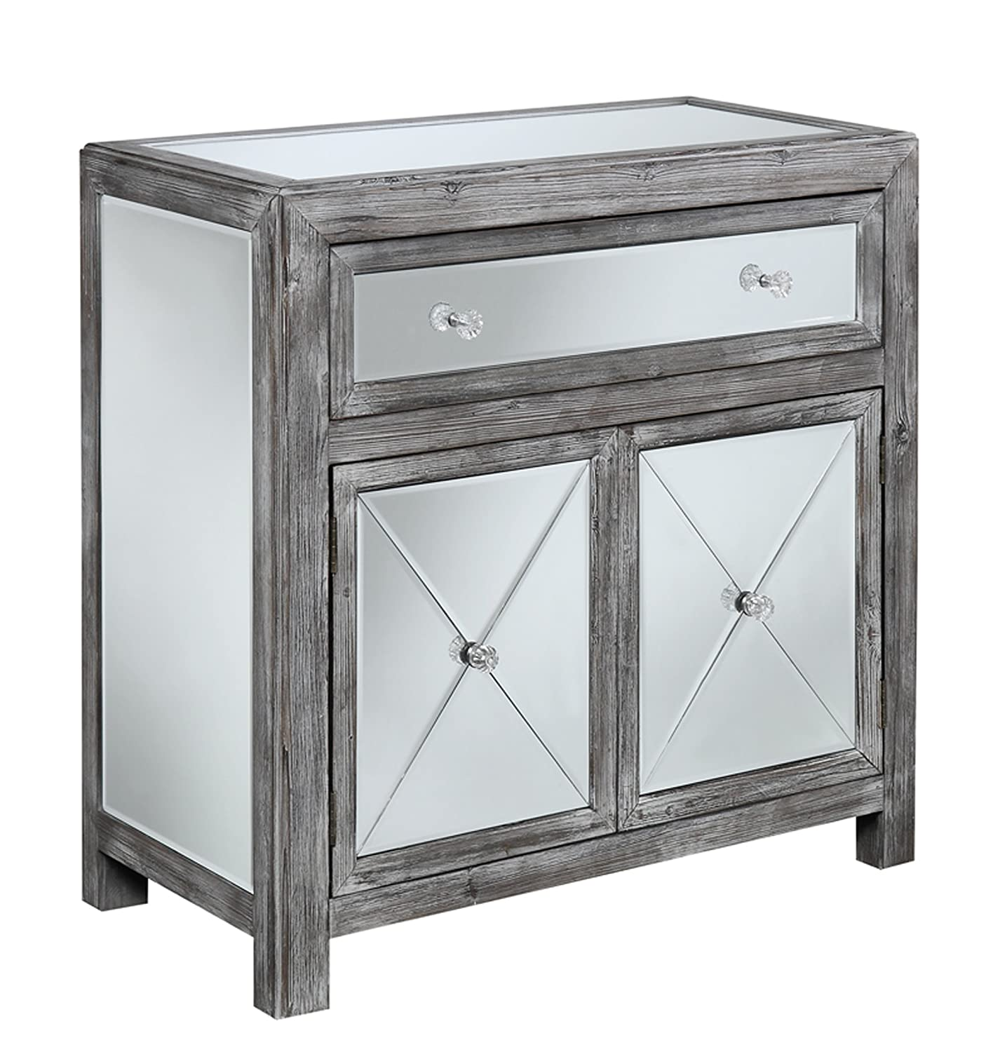 amazoncom convenience concepts gold coast collection vineyard mirrored cabinet weathered graymirror kitchen u0026 dining