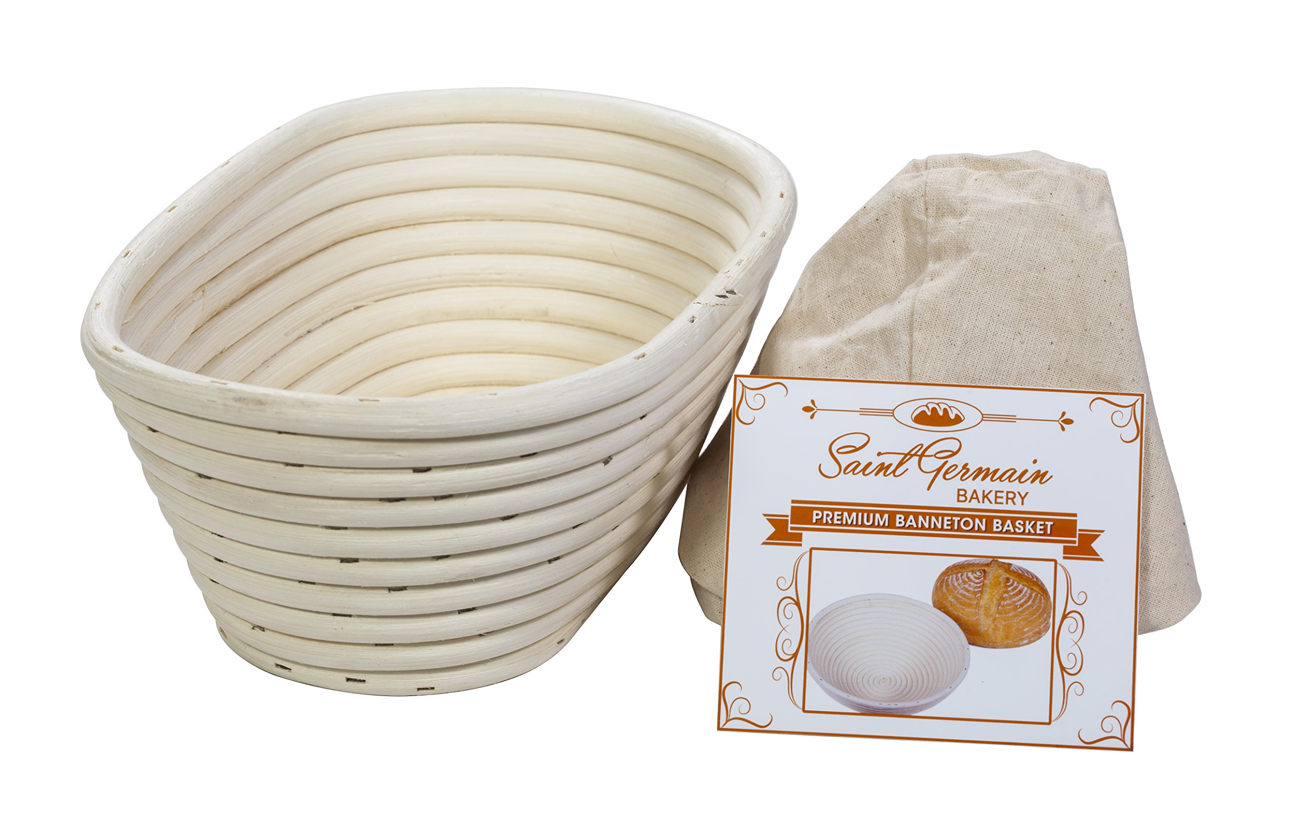 (10 x 6 x 4 inch) Premium Oval Banneton Basket with Liner - Perfect Brotform Proofing Basket for Making Beautiful Bread by Saint Germain Bakery