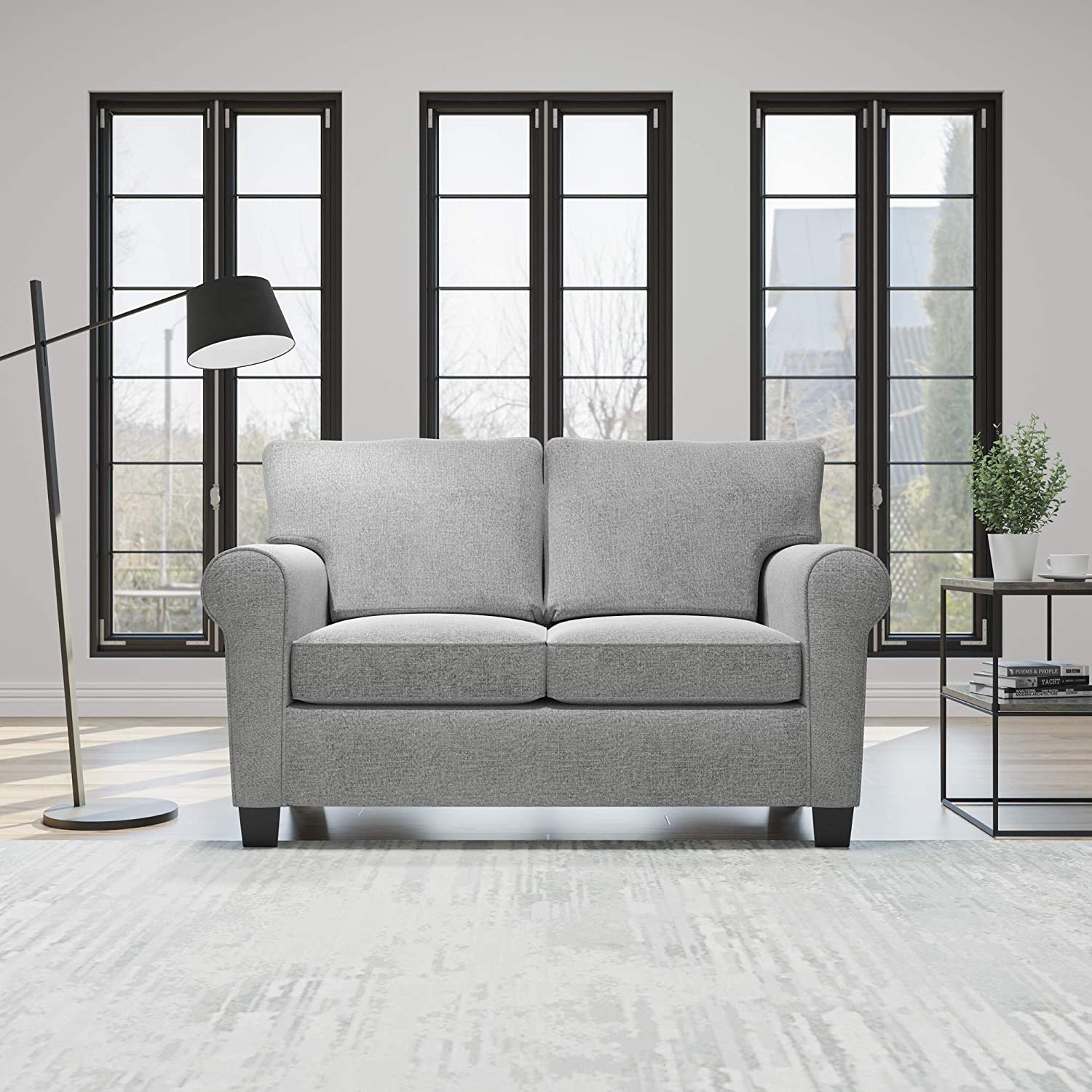 Edenbrook Willow Upholstered Sofa and Loveseat with Rolled Arms – Contemporary, Casual, Cozy, and Comfortable Love Seats, Misty Gray