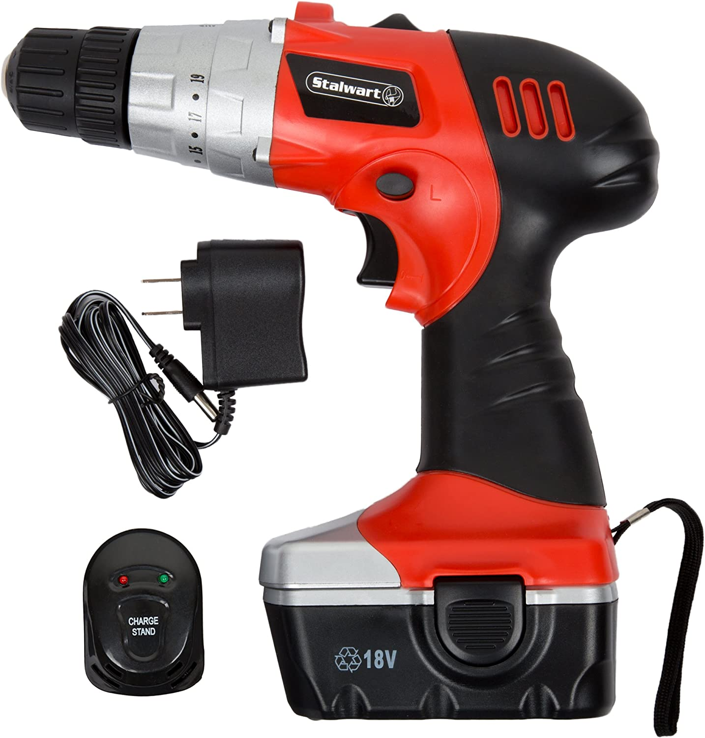 18V Cordless Drill with Rechargeable Battery, Built In LED Light, Level and Magnetic Base- Portable Power Tool with Wall Charger by Stalwart