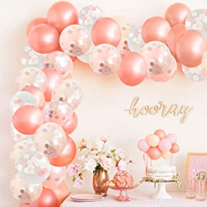 Rose Gold Balloons, Rose Gold Balloon Garland Kit, Pink Rose Gold Confetti Balloons (w/ Balloon Strip) Large 12 inch Size, Helium Supported, Baby Showers Bridal Bachelorette Weddings Arch Kit - 63 pc