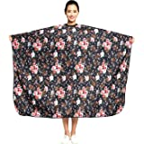 """Salon Professional Hair Styling Cape,Colorfulife Hair Cutting Rose Flower Bronzing Waterproof Hairdresser Wai Cloth Barber Gown Hairdressing Wrap,55""""x63"""" K064 (Rose)"""