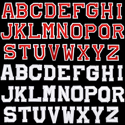 Iron on Letter Patches Red, 52 Pieces Alphabet Applique Patches or Sew on Appliques with Embroidered Patch A-Z Letter Badge Decorate Repair Patches for Hats Jeans Shoes Bags Shirts
