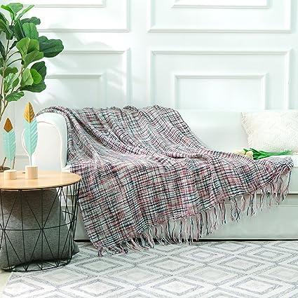 Amazon.com: NordECO Throw Blanket Plaid Soft Cozy Microfiber 100 ...