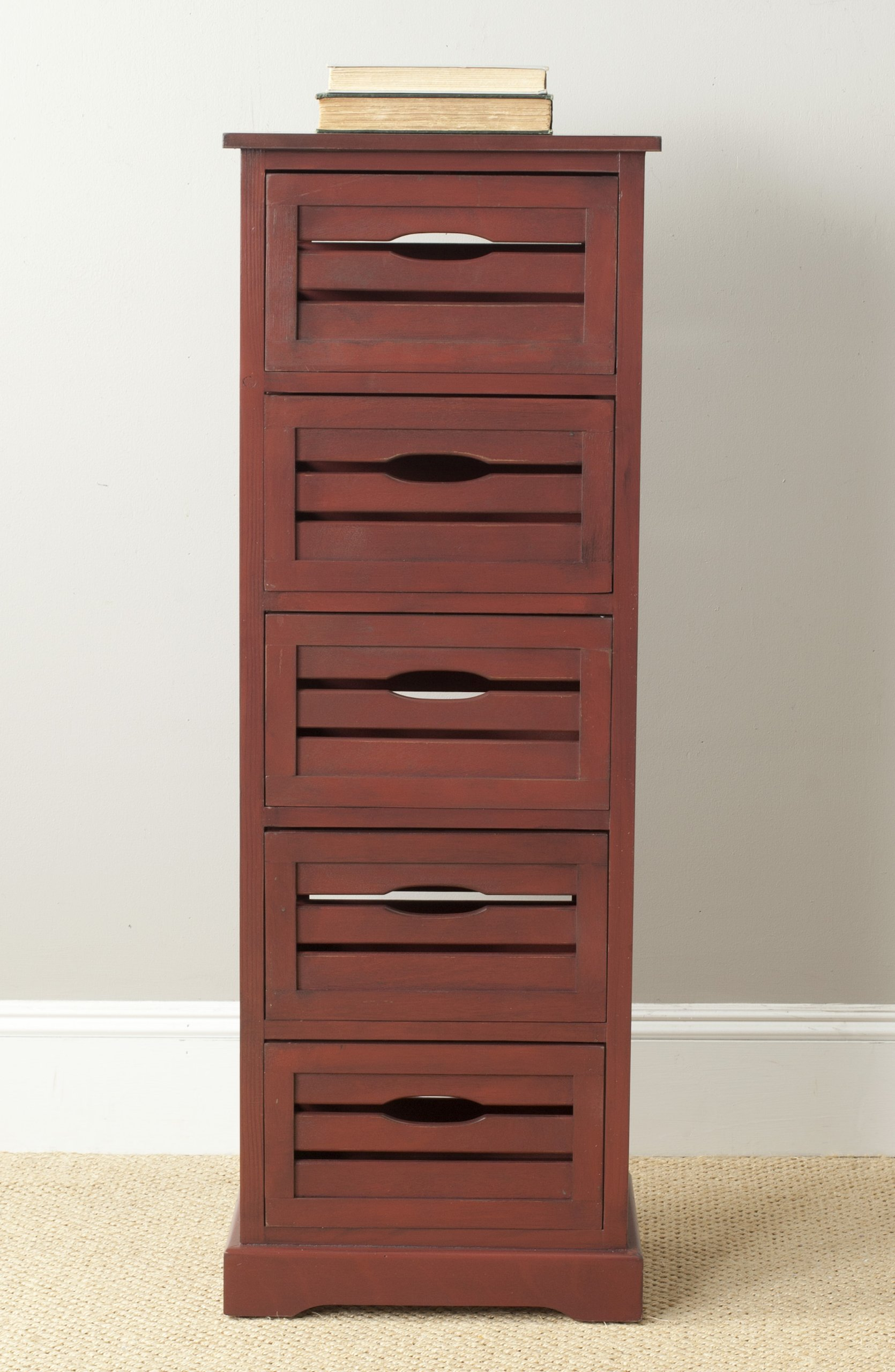 Safavieh American Homes Collection Sarina 5-Drawer Cabinet, Red