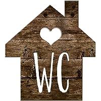 Logbuch-Verlag Wc-bord toiletbord houtlook huisjes bruin wit - schild toilet neutraal mannen & vrouwen gastentoilet…