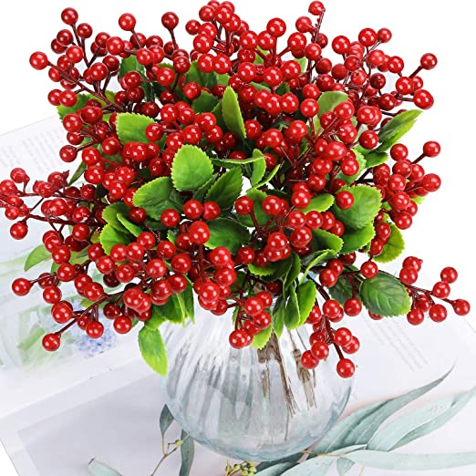 Felice Arts Artificial Red Berry 12 Pack Christmas Berry Stems Faux Holly Berries Branches for Christmas Tree Fireplace Wreath Crafts Holiday and Home Decor