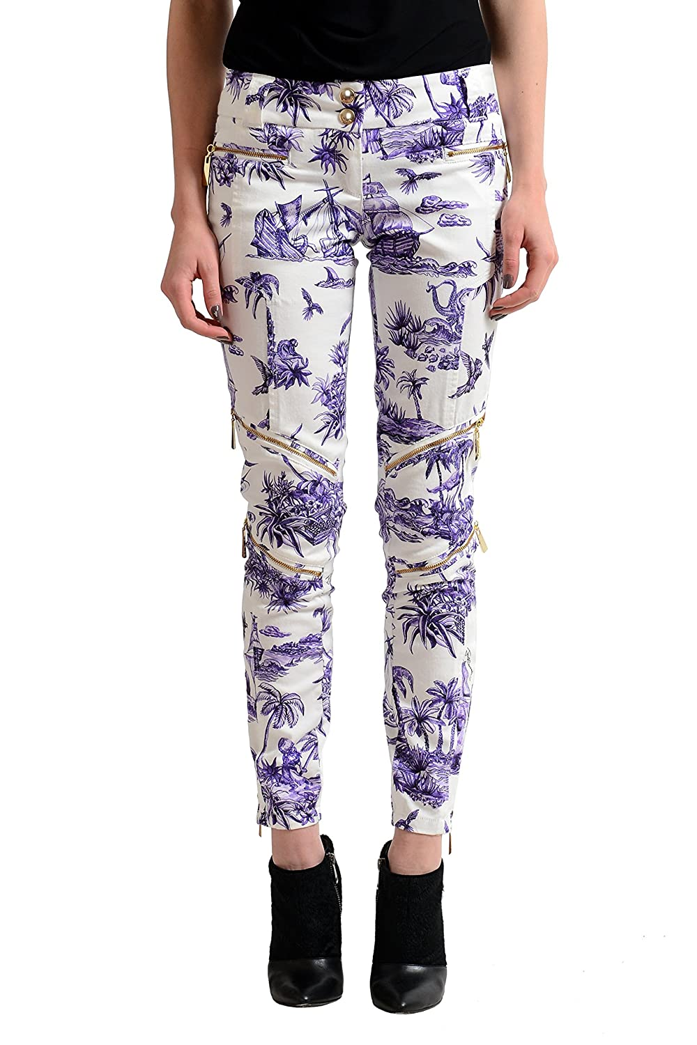 Just Cavalli Women's Multi-Color Printed Casual Pants US 26 IT 40