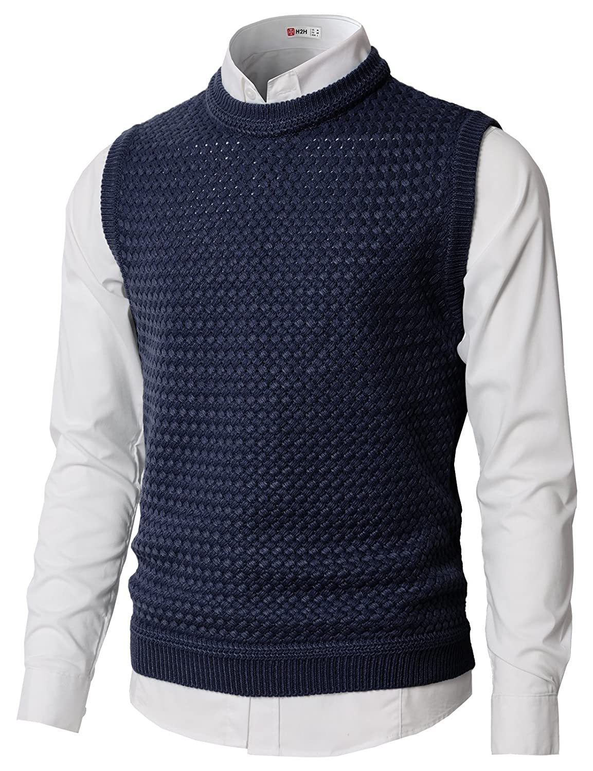H2H Mens Casual Regular Fit Crew Neck Color Contrast Sweater Vest #KMOV0158