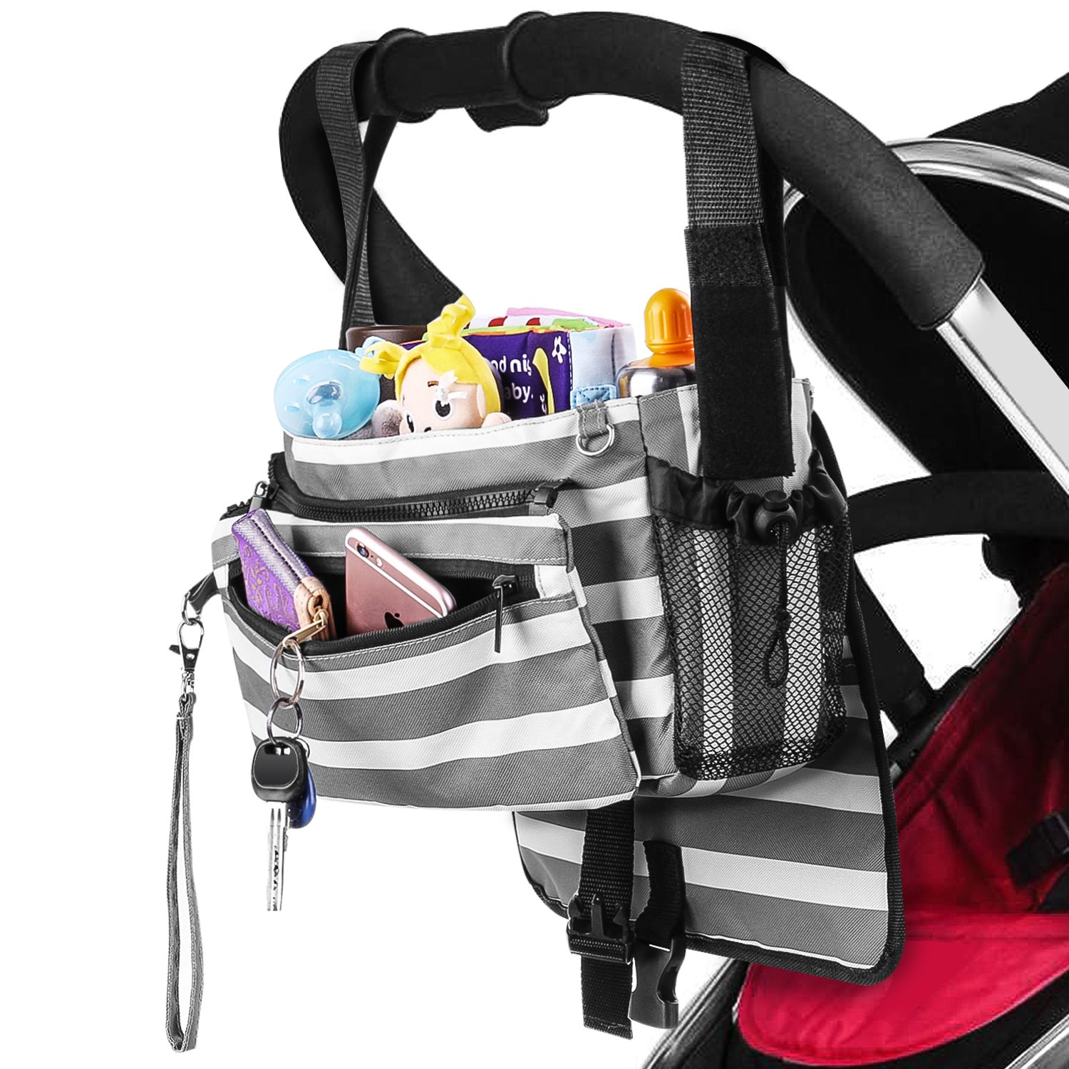 Zooawa Universal Baby Stroller Diaper Bag Storage Organizer with Multi-Pockets