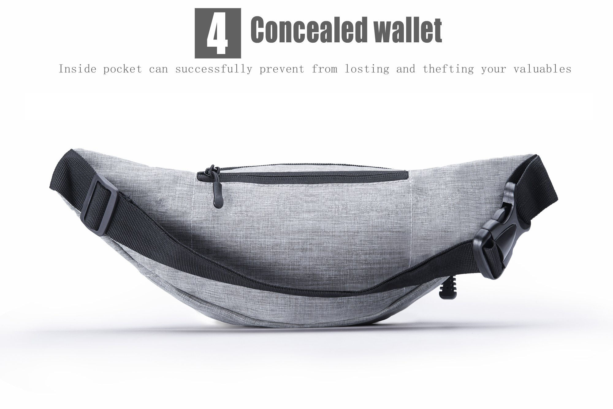EAOOK Waterproof Travel Belt,Big Fanny Pack for Outdoor Sport/Money Belt(Grey) by EAOOK (Image #6)