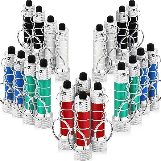 Style 5 20 Pi/èces de Mini Lampes de Poche avec Porte-Cl/és 5 Ampoules LED de Porte-Cl/és pour Camping d/'Enfants et Faveur de F/ête