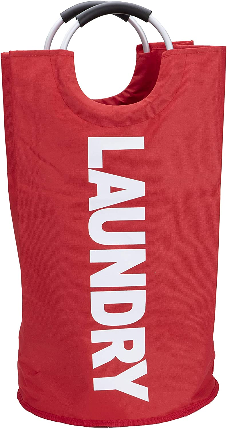 Mind Reader DORMHAMP-RED 82L Large Basket (5 Colors) Collapsible Fabric Laundry Hamper, Foldable, Folding Washing Bin, Clothing Bag, Double Layer with PE Board