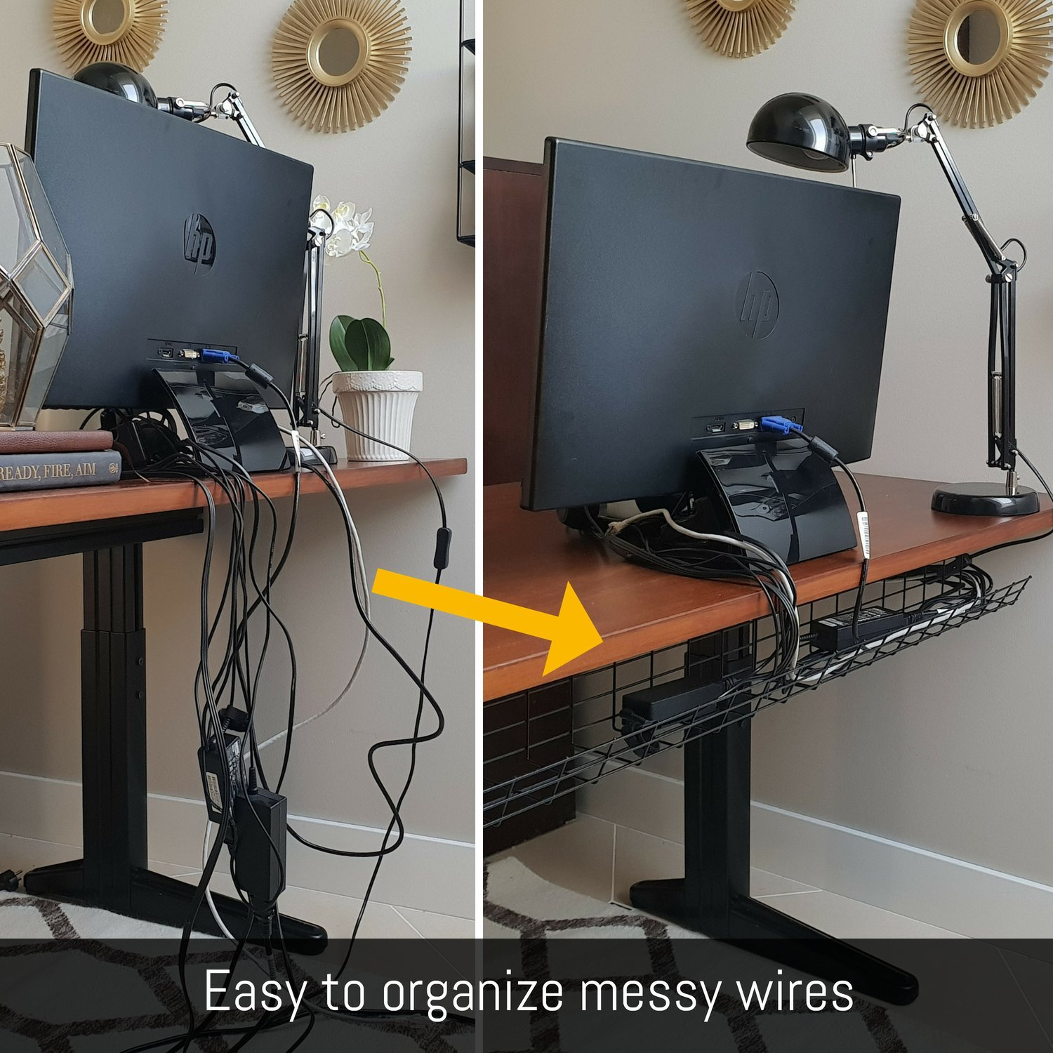 Details about Under Desk Cable Management Tray - Cable Organizer for Wire  Management. Metal