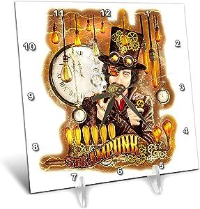 3dRose Dream Essence Designs-Steampunk - Steampunk Ross Gent in top hat Coat Pipe Gears and cogs. Digital Art - 6x6 Desk Clock (dc_324481_1)