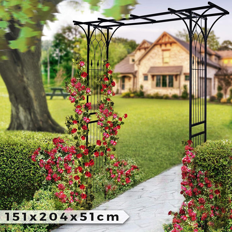 Arco de Metal para Rosas - 151x204x51cm, Acero, Negro - Metálico, Jardín, Rosales, Trepadoras, Enredaderas: Amazon.es: Jardín