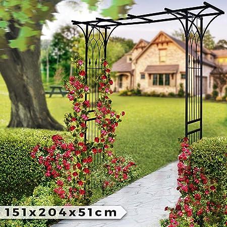 Arco de Metal para Rosas - 151x204x51cm, Acero, Negro - Metálico ...